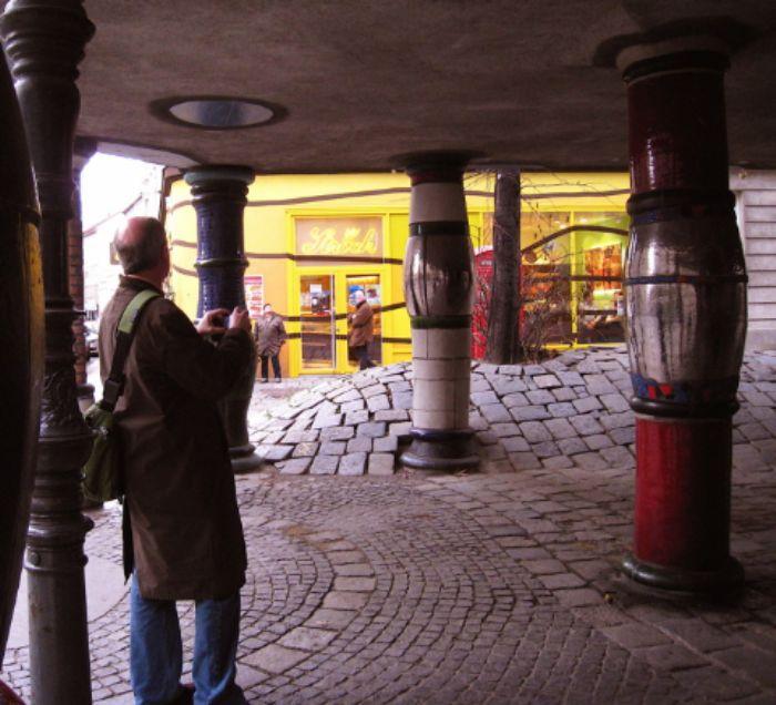 John explores Hundertwasser Haus 2