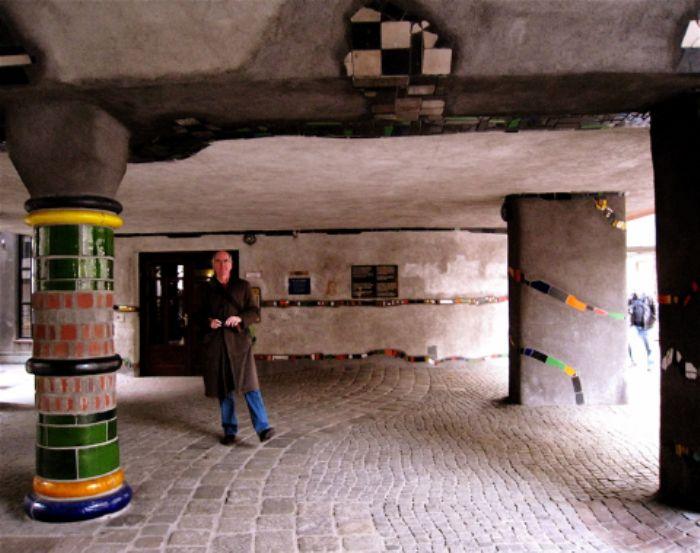 John explores Hundertwasser Haus 1