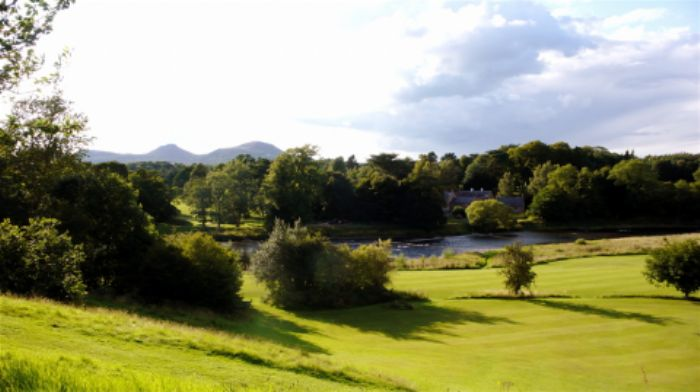 View down to the river with the Eildon hills beyond...