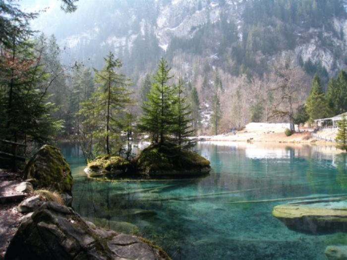 We arrive at the Blausee