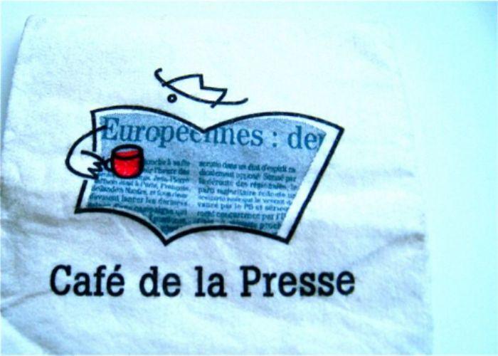 Café de la Presse, San Francisco ...   love the logo  -  great start to the day ...