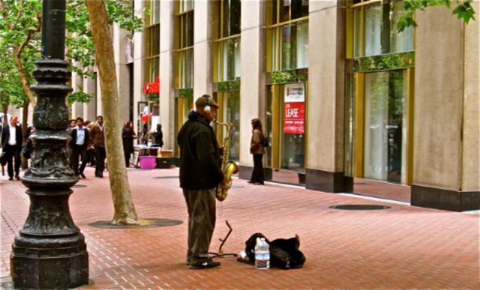 The busker ...