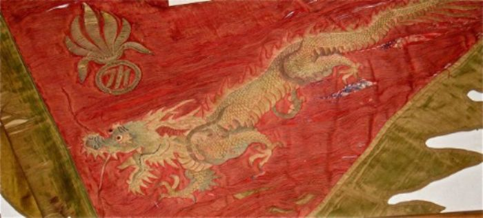 Red and gold. The dragon can be seen as a celestial symbol of the life force of good and evil.