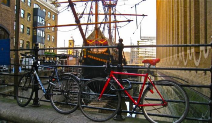 The Golden Hind and two smart bicycles ...