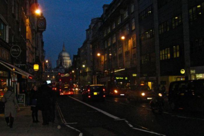 Twilight - looking back down Fleet Street towards St. Paul's ...