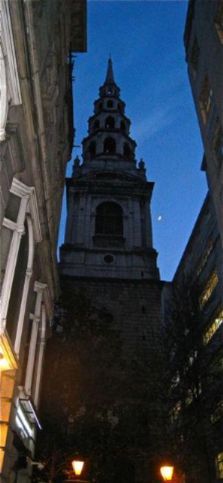 St. Brides Church with crescent moon - just off Fleet Street