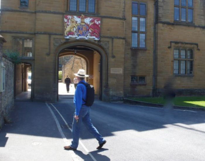 Passing the entrance to Sherborne school