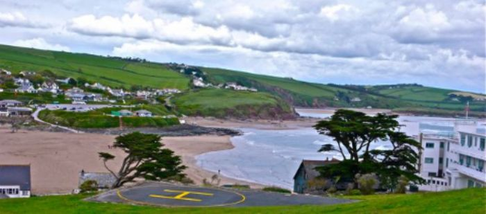 Arriving by helicopter - Burgh Island hotel
