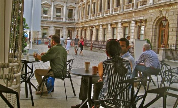 Relaxing outside the RA ...