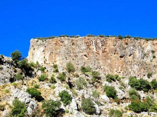 Pinara - Awe inspiring view of cliff peppered with rock tombs