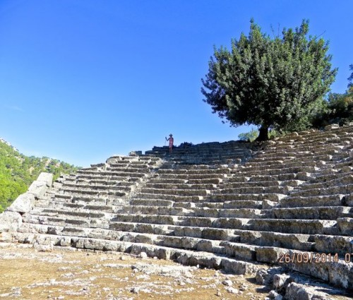 Pinara - Amphitheatre with tree and Kati