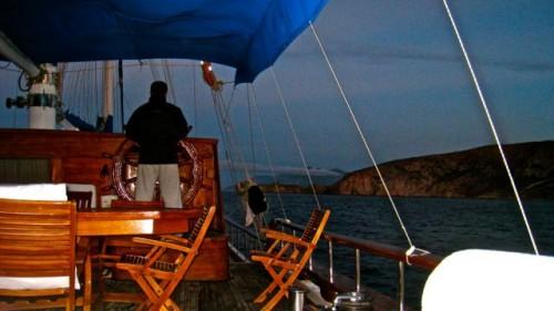 Sailing into the storm towards Fethiye