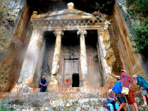 Fethiye - the famous Antyas tomb in the rain ...