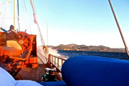 Towards Kaunos - captain riding through the surf