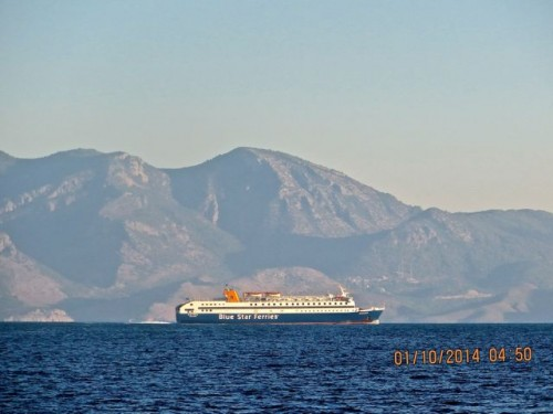 ... and a Greek ferry in the distance