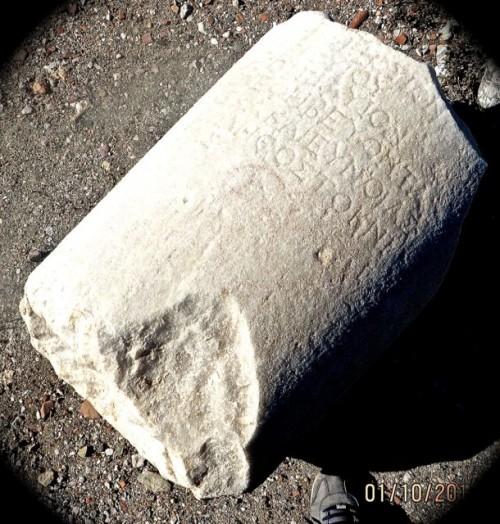 Knidos - Greek writing on broken pillar