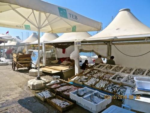 Bodrum - fish stalls on waterfront