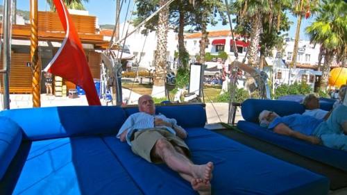 Bodrum - John always sleeps well ...