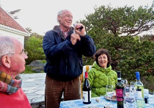 Jørgen, John and Marie - Jorgen demonstrates his unique bottle opener!