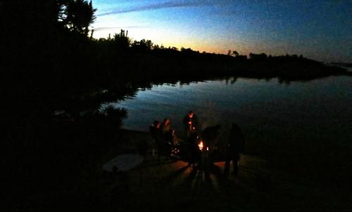 Around the fire nearing midnight ...