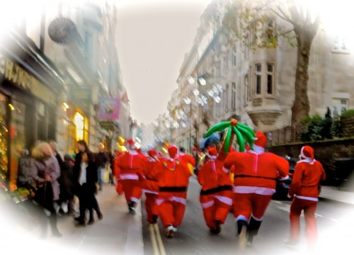 A Father Christmas stampede ...