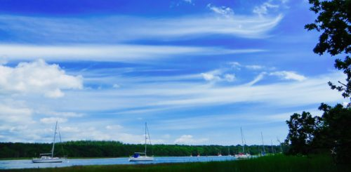 Buckler's Hard - clouds and boats ...