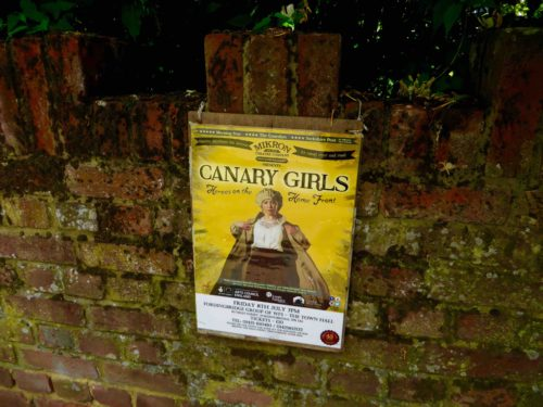 An appealing poster at Fordingbridge - John said his grandmother was a Canary Girl!