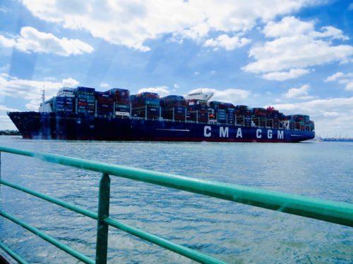 Cargo ship, Benjamin Franklin, leaving Southampton docks ...