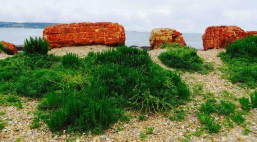 Old bricks used as breakwater - Hurst castle